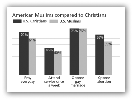 American Muslims compared to Christians