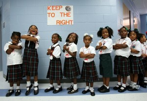 Students at one of the many charter schools that emerged in New Orleans in the wake of Hurricane Katrina. Photo by Mario Tama/Getty Images.