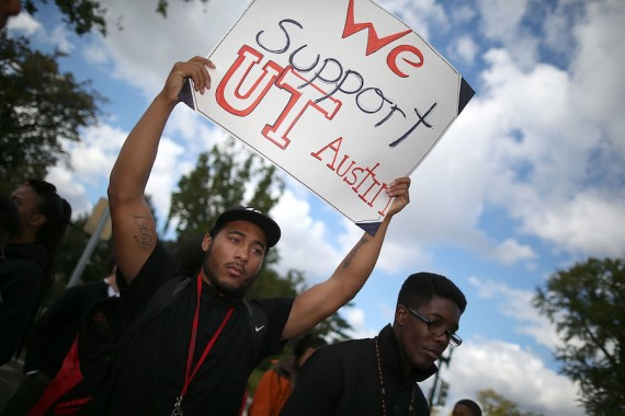 Students gather to support the University of Texas as the Supreme Court considered Fisher v. University of Texas. Getty Images / Mark Wilson