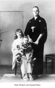 Mauss with his wife Ruth, and their first- born son in Japan, 1952.