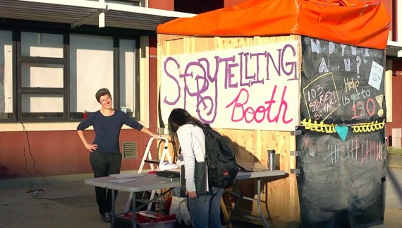 The storytelling booth affords participants the chance to think, reflect, and speak out about bullying.