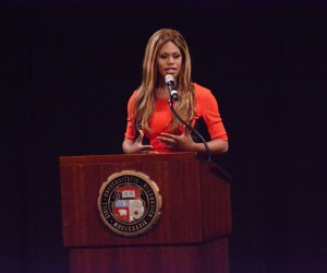 Laverne Cox, a star of Orange is the New Black, speaks at the Missouri Theater. Photo Taylor Pecko-Reid/ KOMU 8 via Flickr CC.