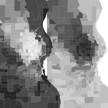 Milwaukee, WI's segregation (White population on the left, Black on the right). Illustration by Philip Cohen using data from Social Explorer.