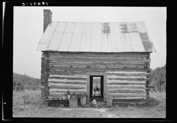 "Negro sharecropper house. ""They treat us better here than where we did live. No privy in sight, had to get water from the spring, so far away that the man was gone twenty minute getting a bucket of water."" Person County, North Carolina."