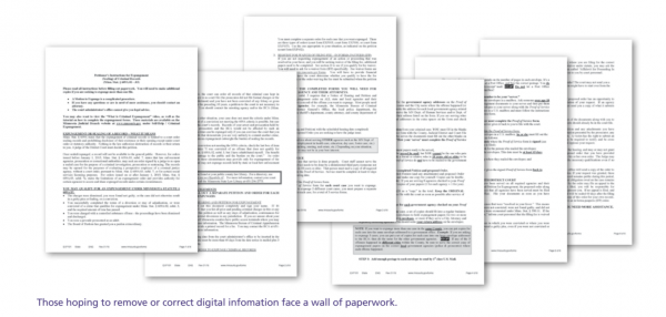 Mugshot removal paperwork