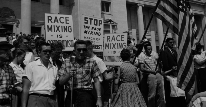 An anti-integration rally in Little Rock, Arkansas. Wikimedia Commons.