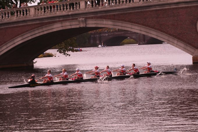 "At the ""Head of the Charles Regatta,"" teams from Harvard and other schools row crew. Photo by Christopher Schmidt, Flickr CC. flic.kr/p/5veE2Z"